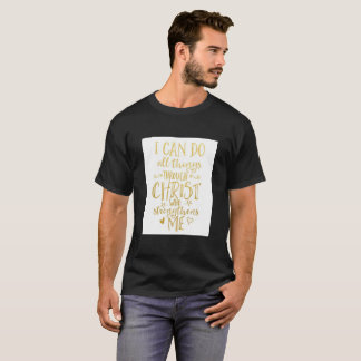 Black nice t-shirt with Golden message of God