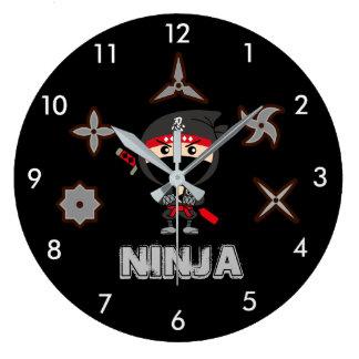 Black Ninja Boy Large Clock