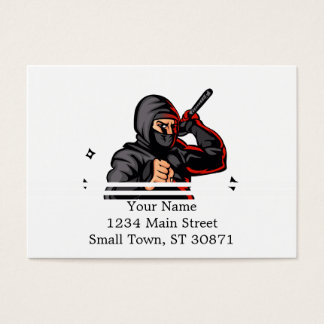 black ninja cartoon. business card