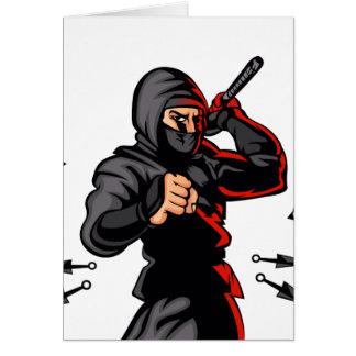 black ninja cartoon. card