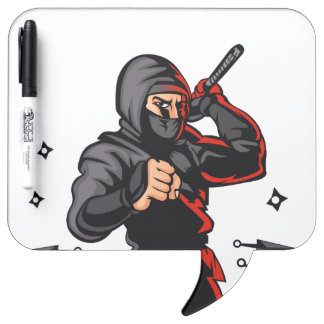 black ninja cartoon. dry erase board