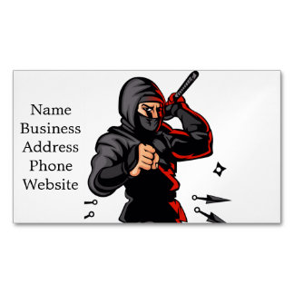 black ninja cartoon. magnetic business cards
