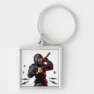 black ninja cartoon. Silver-Colored square key ring