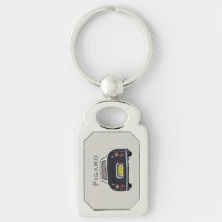 Black Nissan Figaro Custom Oblong Key Ring Silver-Colored Rectangle Key Ring