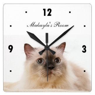 Black nose Cat Square Wall Clock