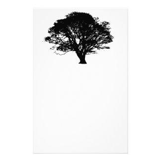 Black Oak Tree Design Personalized Stationery