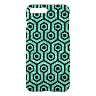Black Octagon Pattern Green Glitter Background iPhone 7 Plus Case