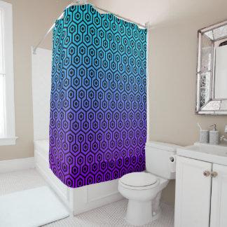Black Octagon Pattern On Purple To Blue Gradient Shower Curtain