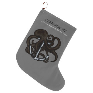 Black Octopus Over Anchor Large Christmas Stocking