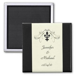 Black Off White Fleur de Lis Wedding Magnet