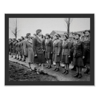 Black Officers Inspecting Troops WWII England Poster