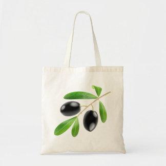 Black olives branch budget tote bag