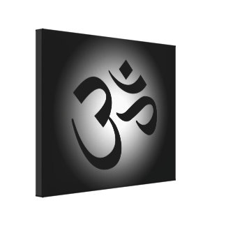 Black Om Symbol Canvas Print
