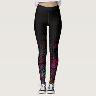 Black Ombre Over Colorful Line & Circle Abstract Leggings