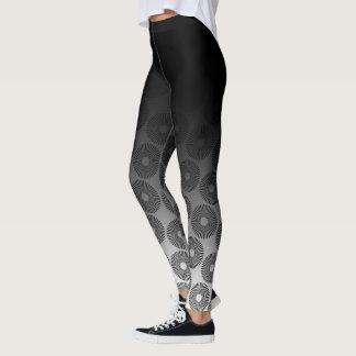 Black Ombre w/ Retro Black & White Round Pattern Leggings