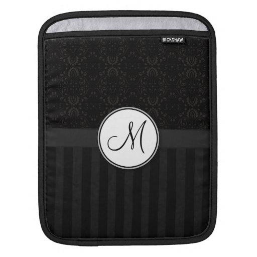 Black on Black Damask and Stripes with Monogram iPad Sleeves