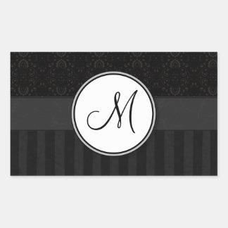 Black on Black Damask and Stripes with Monogram Rectangular Sticker