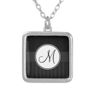 Black on Black Damask and Stripes with Monogram Square Pendant Necklace