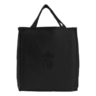 Black on Black FAB Crown Embroidered Canvas Tote Embroidered Tote Bags
