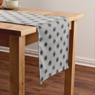 Black on Grey Sketchy Dots Medium Table Runner