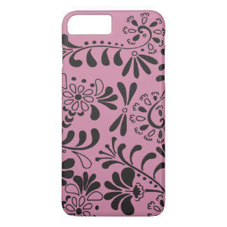 Black on pink abstract flowers iPhone 8 plus/7 plus case