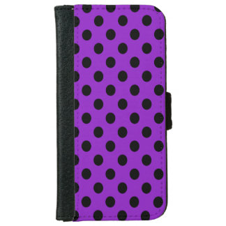 Black on Purple Polka Dot iPhone 6 Wallet Case