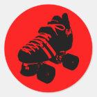 Black on Red Roller Derby Skate Sticker