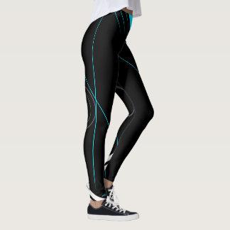 Black on turquoise strips leggings