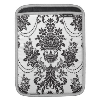 Black On White Baroque Floral Swirls Pattern Sleeves For iPads