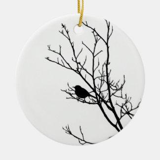 Black On White Bird Silhouette - Round Ceramic Decoration