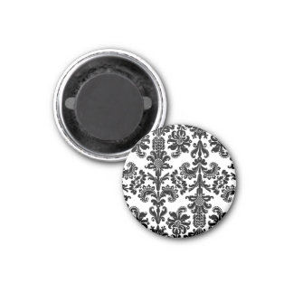 Black on White Brocade 3 Cm Round Magnet