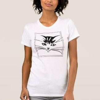 Black on White Cat Outline T-Shirt