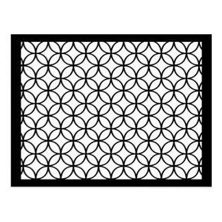 Black on White Circles Postcard