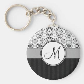 Black on White Damask and Stripes with Monogram Key Ring