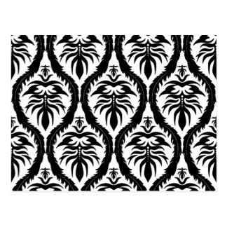 Black on White Damask Floral Postcard
