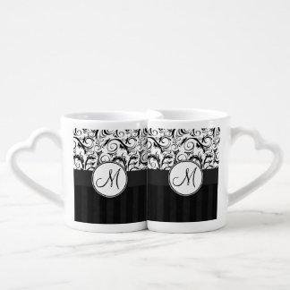 Black on White Floral Wisps, Stripes & Monogram Couples Mug