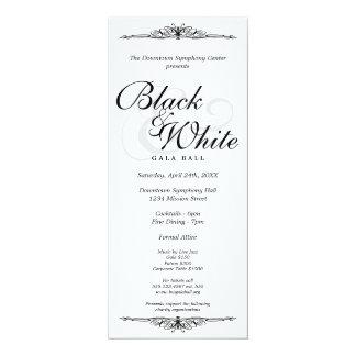 Black on white gala ball dance corporate long 10 cm x 24 cm invitation card