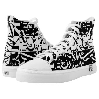 black on white on black  2 printed shoes