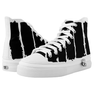 Black on White Paint Stripes High Top Sneakers