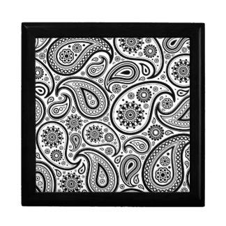 Black On White Paisley Pattern Design Large Square Gift Box