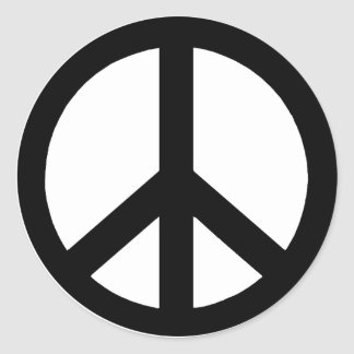 Black on White Peace Sign Classic Round Sticker