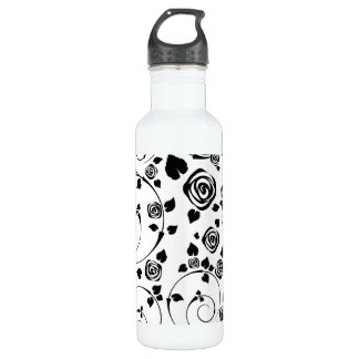 Black on White Rosettes 710 Ml Water Bottle