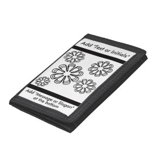 Black on White Spirals Tri-fold Wallets