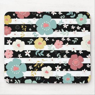 Black On White Stripes & Cute Colorful Flowers Mouse Pad