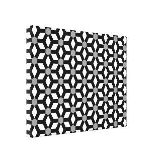 Black on White Tiled Hex Canvas Canvas Prints