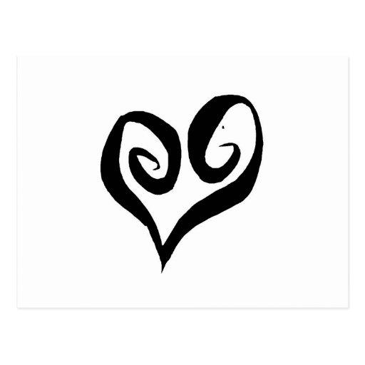 Black Open Heart Post Cards