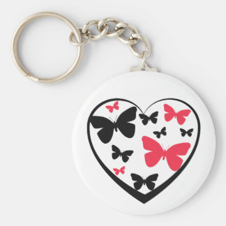 Black open heart with red & black butterflies basic round button key ring