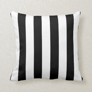 Black or Custom Color and White Stripes Pillow