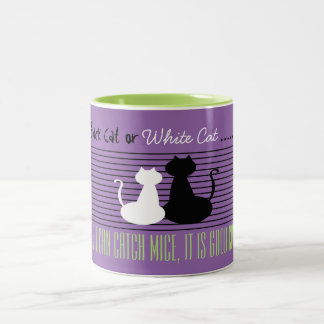 Black or White Cat - Good Cat, Violet Green Mug
