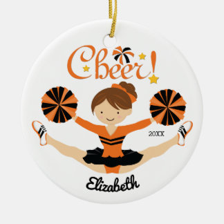 Black & Orang Cheer Brunette Cheerleader Ornament
